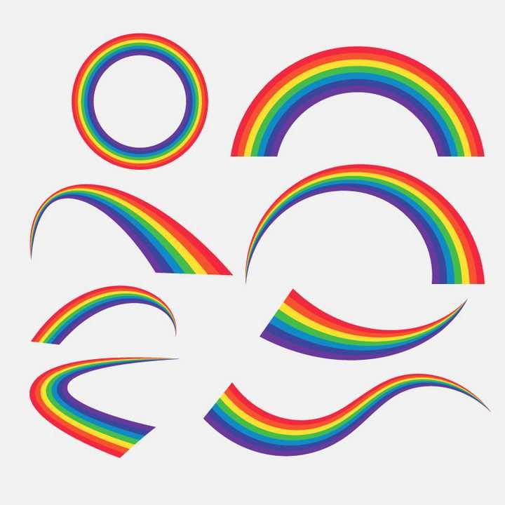 8款各种造型的七彩彩虹图片免抠素材