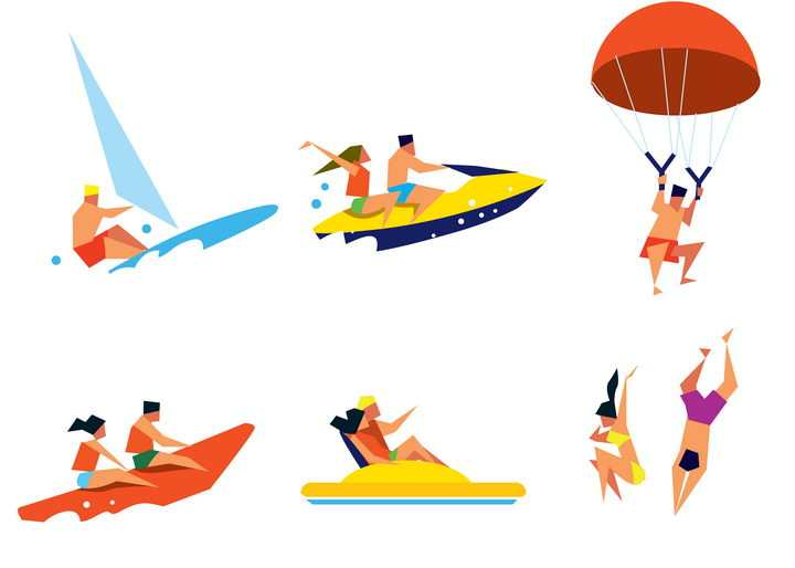 6款扁平化风格冲浪快艇跳伞跳水等海岛旅游项目图片免抠矢量素材