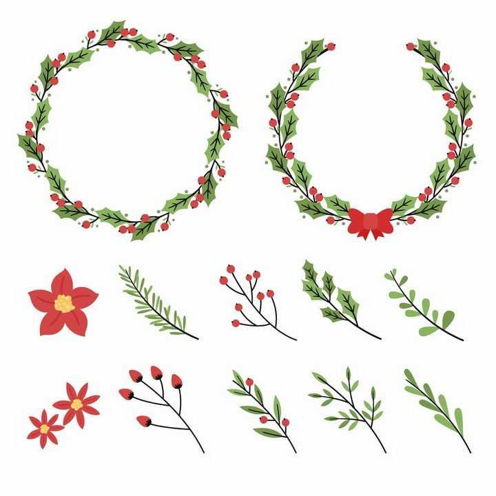 简洁风格绿色花环和树叶装饰免抠图片素材
