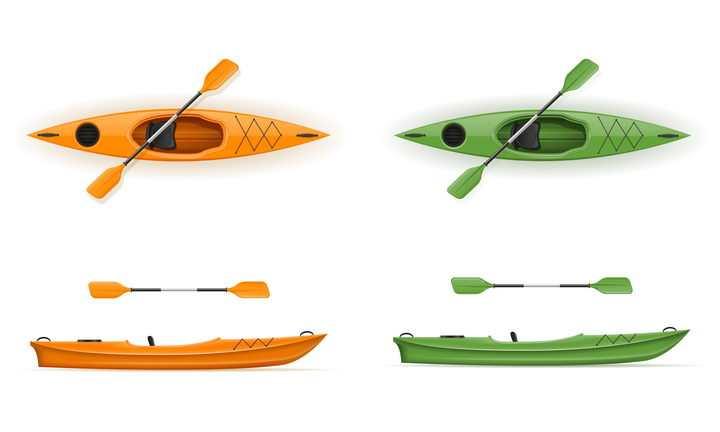 绿色和橙色的皮划艇小船船桨免抠矢量图片素材