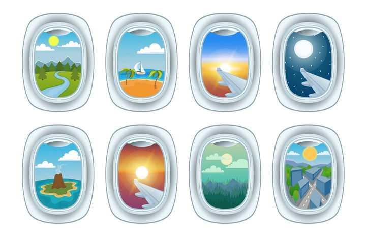 8款飞机舷窗窗户外风景图片免抠素材