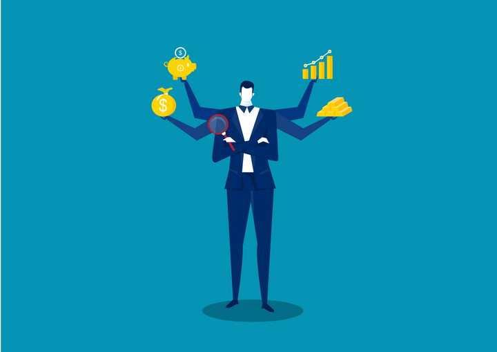 扁平化风格三头六臂的商务人士配图免抠图片素材