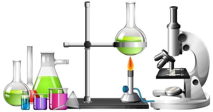 逼真的化学实验室烧杯显微镜等中学化学实验器材图片免抠素材