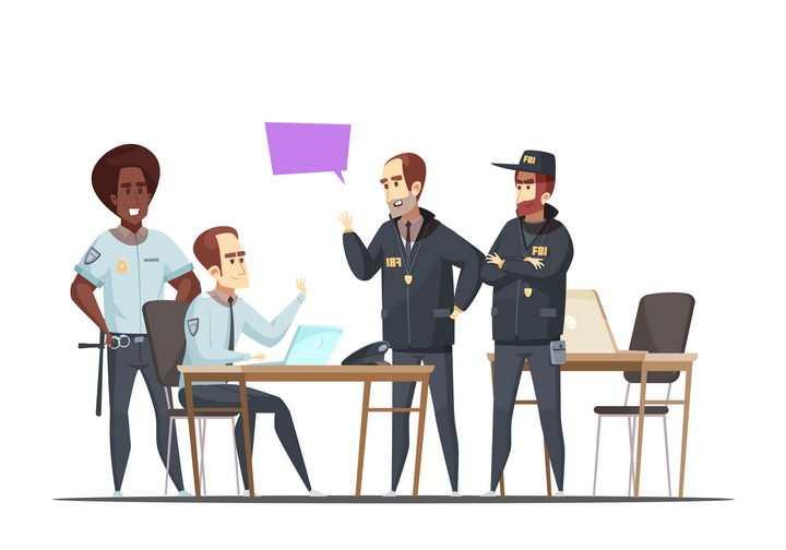 卡通风格正在讨论案情的警察图片免抠素材