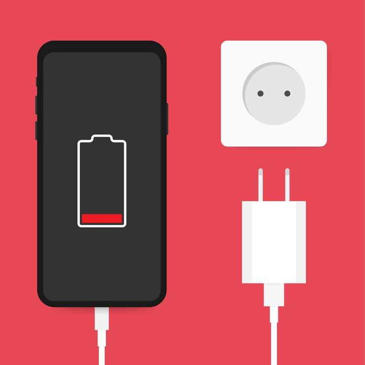 扁平化风格的正在充电的手机充电器免抠矢量图片素材
