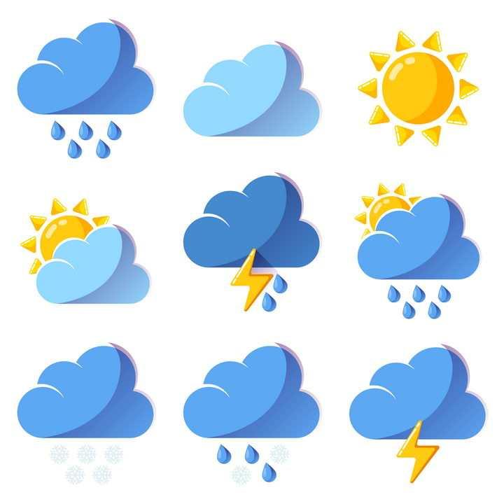 大雨晴天阴天多云等9款蓝色风格天气图标图片免抠素材