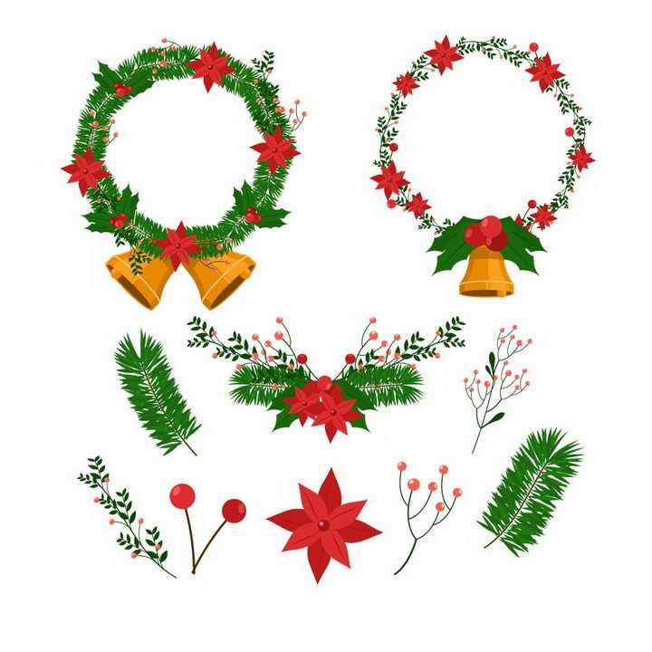 各种圣诞节装饰花环和树叶免抠图片素材