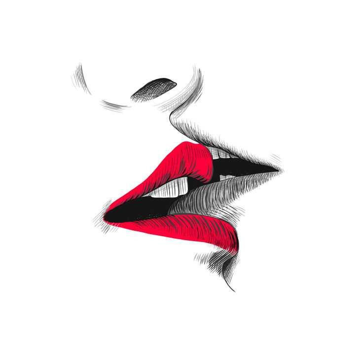 彩色铅笔素描接吻的红唇嘴唇图片免抠素材