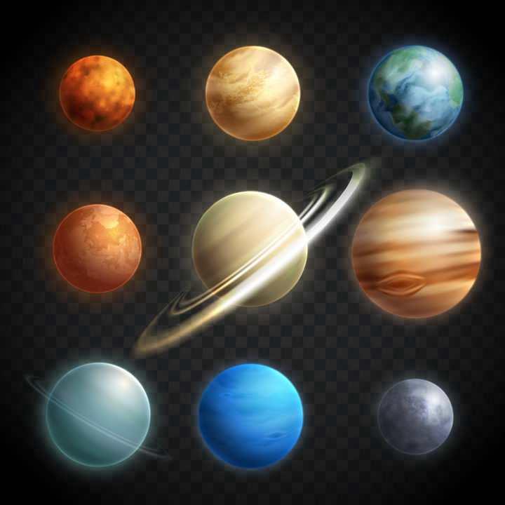 逼真的太阳系八大行星水星金星地球火星木星土星天王星海王星冥王星天文科普图片免抠素材