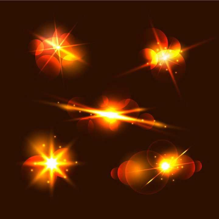 5款红色光芒光晕星光效果图片免抠矢量图素材