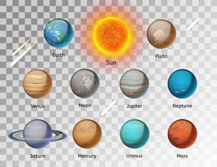 11款水晶风格太阳系九大行星和月球天文科普图片免抠素材