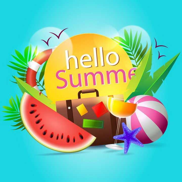 唯美风格的夏日热带海岛旅行标题框装饰西瓜海星等免抠矢量图片素材