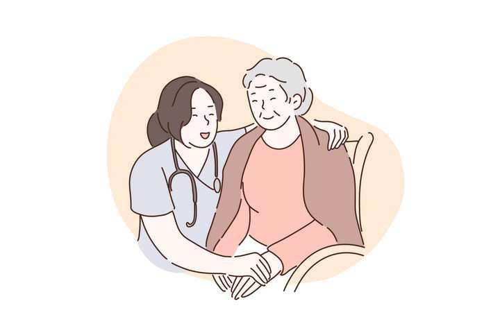 手绘彩色上色线条漫画风格照顾老人的医生图片免抠素材