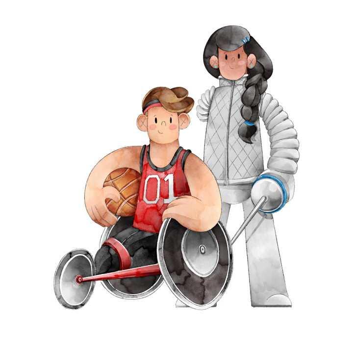 卡通插画插图风格残疾人运动会篮球和击剑项目运动员免抠矢量图片素材