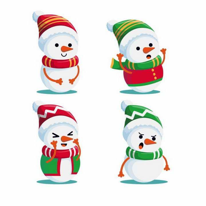 4款可爱的卡通雪人冬天装饰免抠图片素材