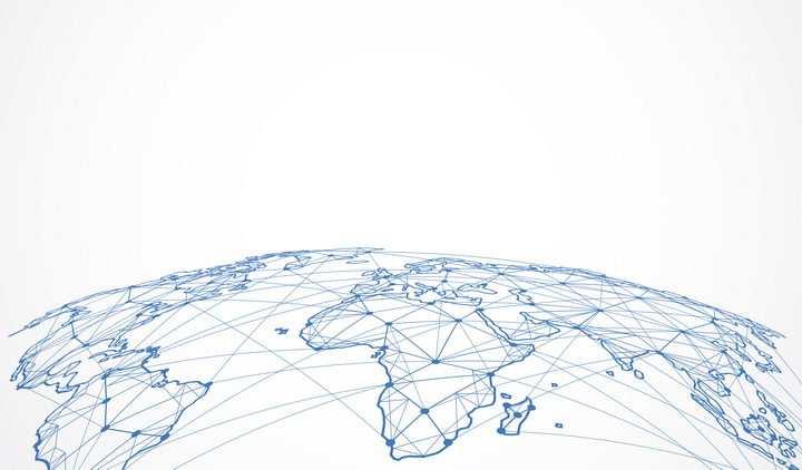 弧形的蓝色点线三角形组成的世界地图地球图案图片免抠矢量素材