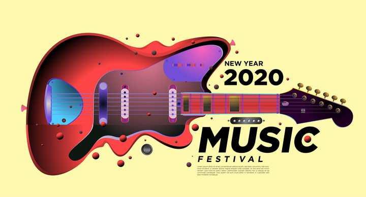 创意抽象风格红色吉他音乐会配图图片免抠矢量素材