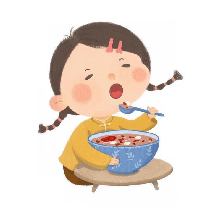 彩绘风格正在吃腊八粥八宝粥养生粥腊八节传统美食的卡通小女孩图片免抠png素材 生活素材-第1张