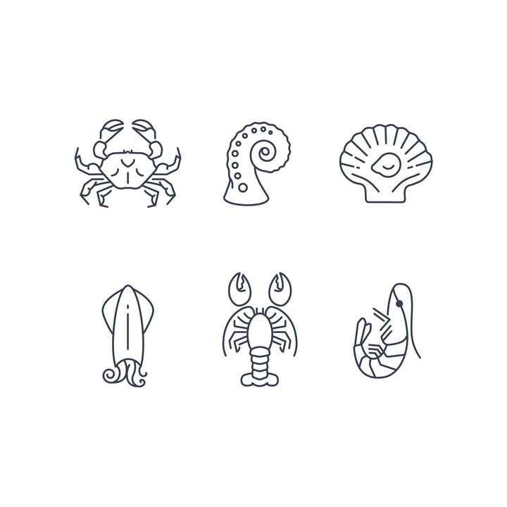 简约线条风格的螃蟹贝壳乌贼龙虾等海洋生物免抠矢量图素材
