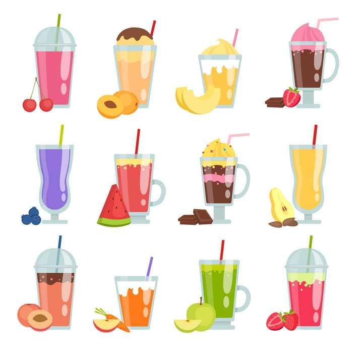 12种高光扁平化风格水果冷饮图片免抠矢量素材