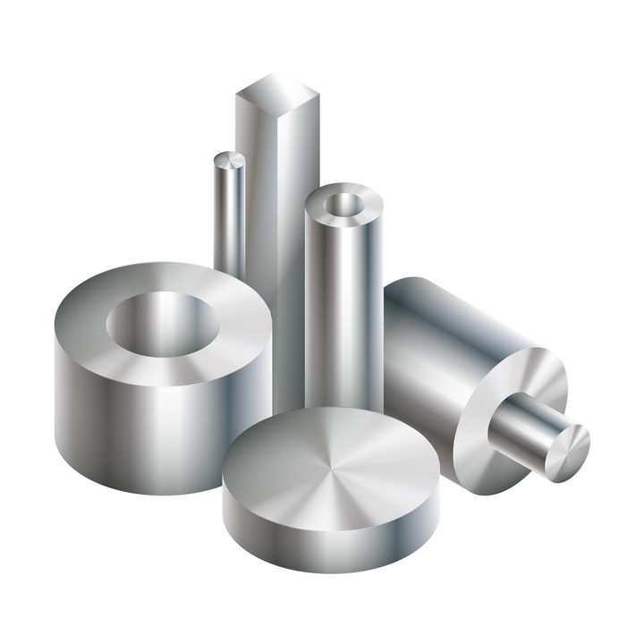 各种金属光泽的不锈钢合金工业产品免抠矢量图素材