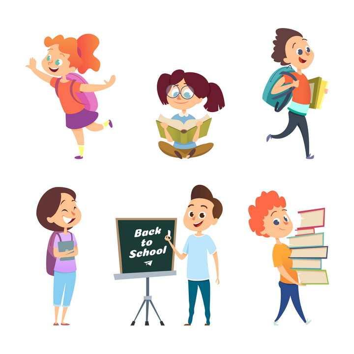 6款卡通风格正在上学学习的学生图片免抠矢量素材