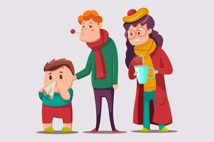 卡通漫画风格感冒的小朋友和关切的爸爸妈妈要多喝热水图片免抠矢量素材