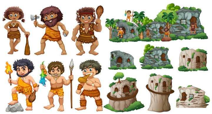 疯狂的原始人和原始人居住的各种山洞图片免抠矢量素材
