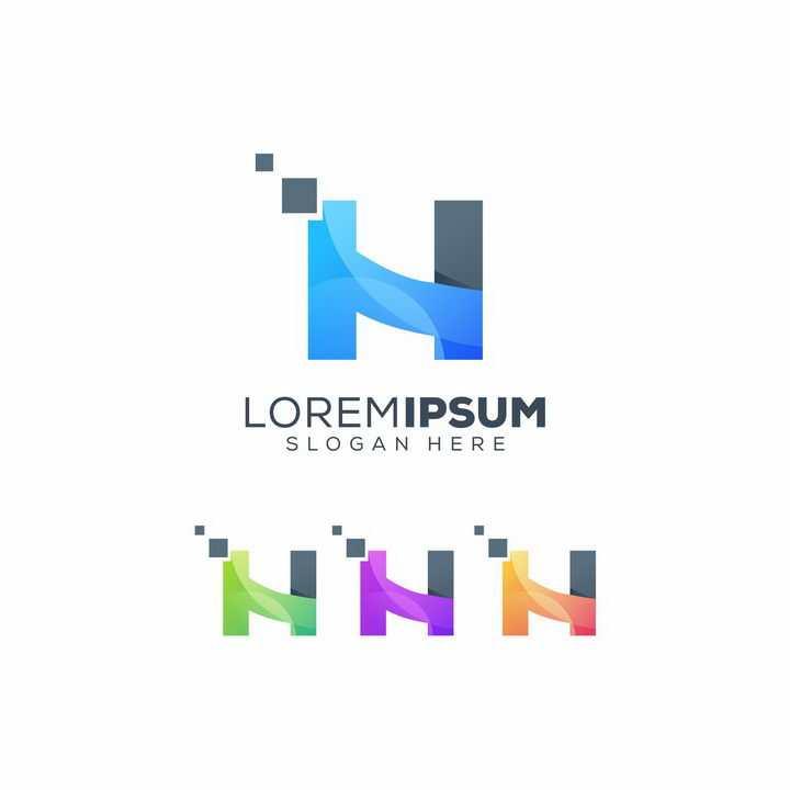 创意多种颜色字母H符号LOGO设计方案图片免抠矢量素材