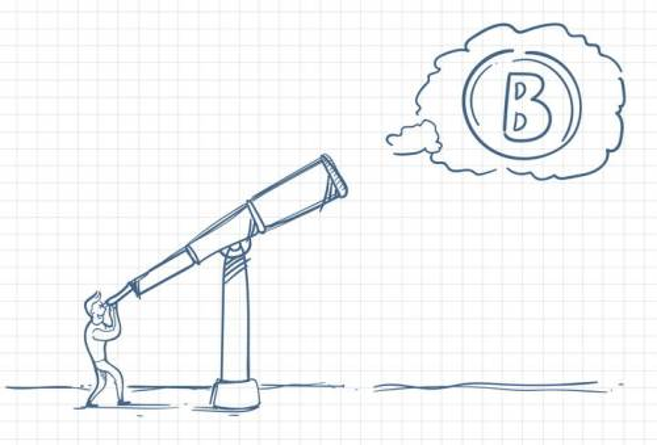圆珠笔画涂鸦风格通过望远镜看到了比特币符号职场人际交往配图图片免抠矢量素材