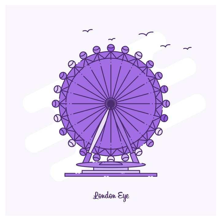 紫色断点线条风格英国伦敦眼旅游景点图片免抠矢量图素材