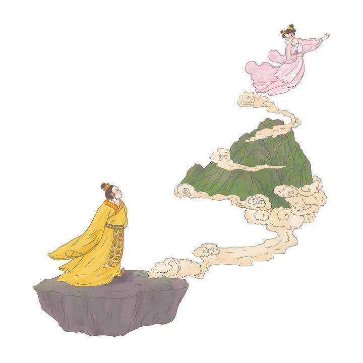 巫山神女中国传统神话人物传说故事手绘彩色插图图片免抠png素材 教育文化-第1张
