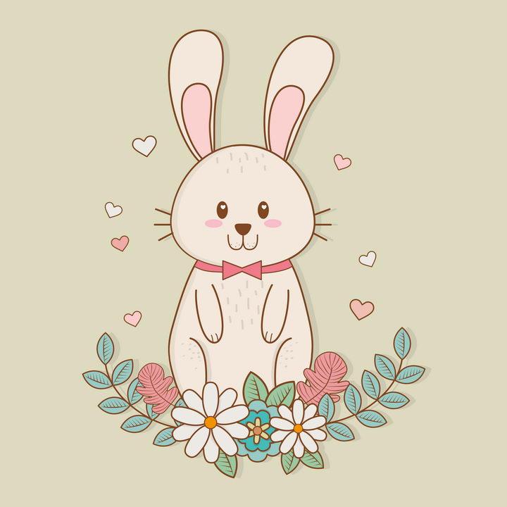 有花朵绿色装饰的卡通小兔子图片免抠矢量素材 生物自然-第1张