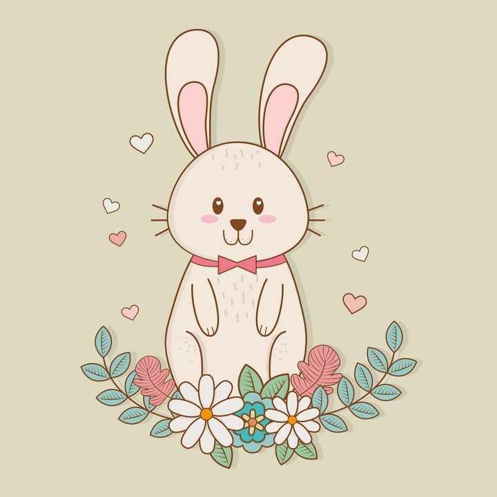 有花朵绿色装饰的卡通小兔子图片免抠矢量素材