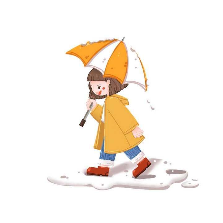 下雪天打伞的卡通小女孩图片免抠png素材