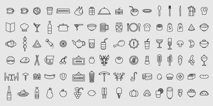 96款简约线条风格美食餐饮类icon图标图片免抠素材