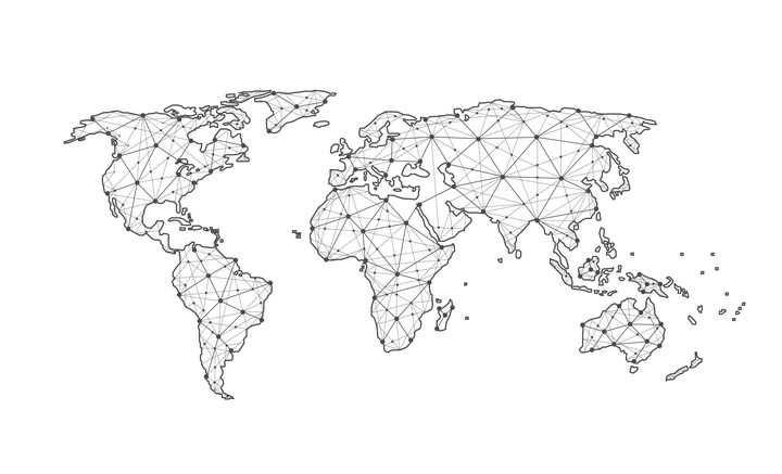 点和线组成的三角形多边形世界地图图案图片免抠矢量素材