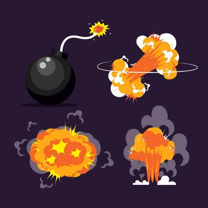 卡通黑色炸弹和漫画爆炸效果图片免抠素材