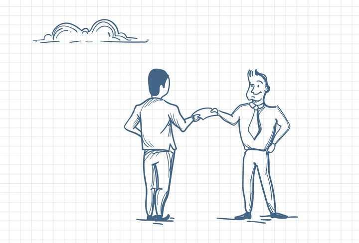 圆珠笔画涂鸦风格交换合同文件的商务人士职场人际交往配图图片免抠矢量素材