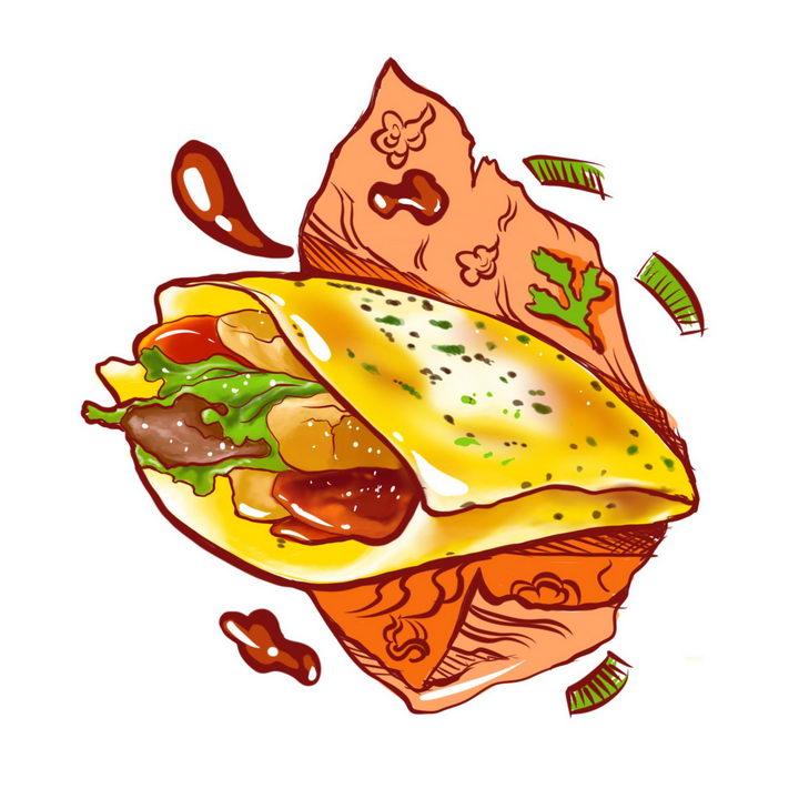 手绘风格煎饼果子传统小吃早餐美食图片免抠png素材 生活素材-第1张