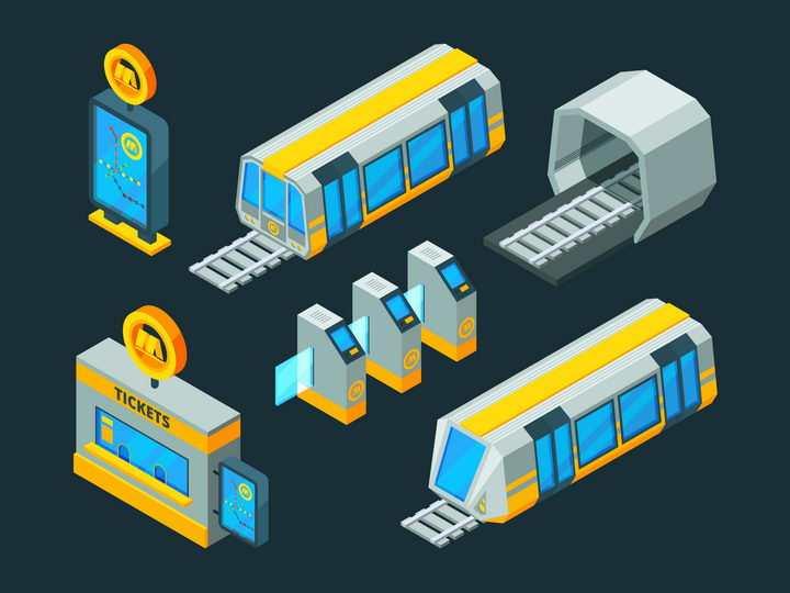 2.5D风格地铁运行城市轨道交通图片免抠矢量素材