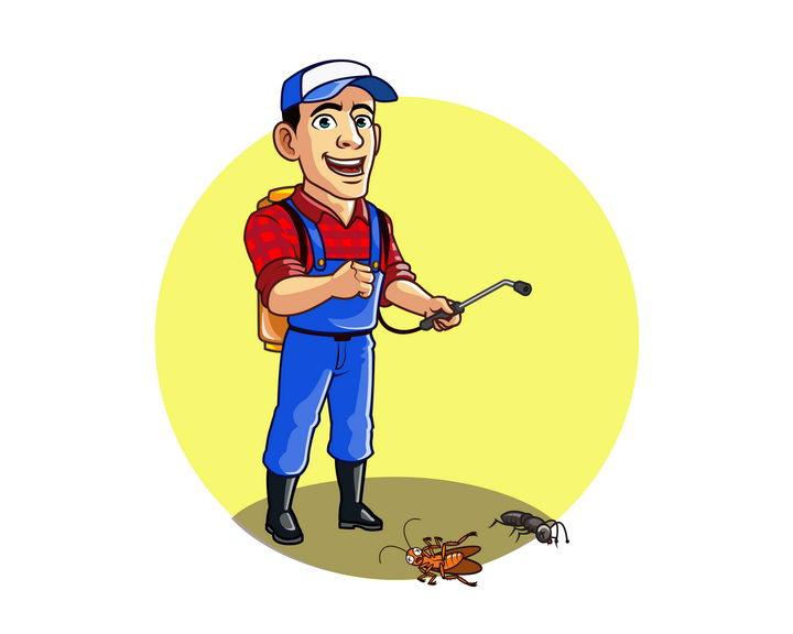 卡通漫画风格正在灭虫消灭害虫防虫的男人图片免抠矢量素材 人物素材-第1张