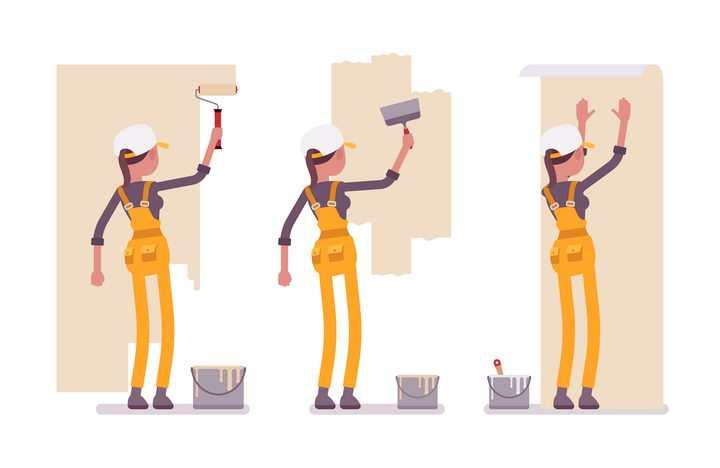 3款扁平插画风格正在粉刷墙面贴墙纸的装修工人图片免抠矢量素材