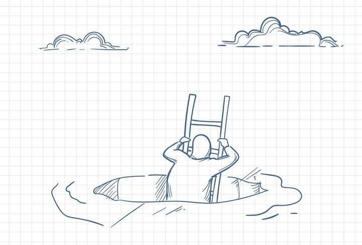 圆珠笔画涂鸦风格从坑里爬出来的人职场人际交往配图图片免抠矢量素材