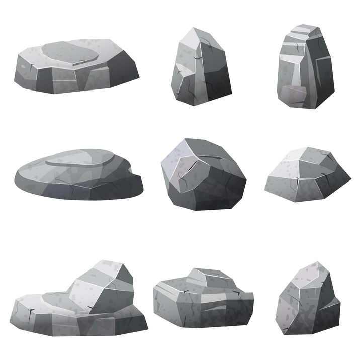 9款灰白色的石头石块图片免抠素材