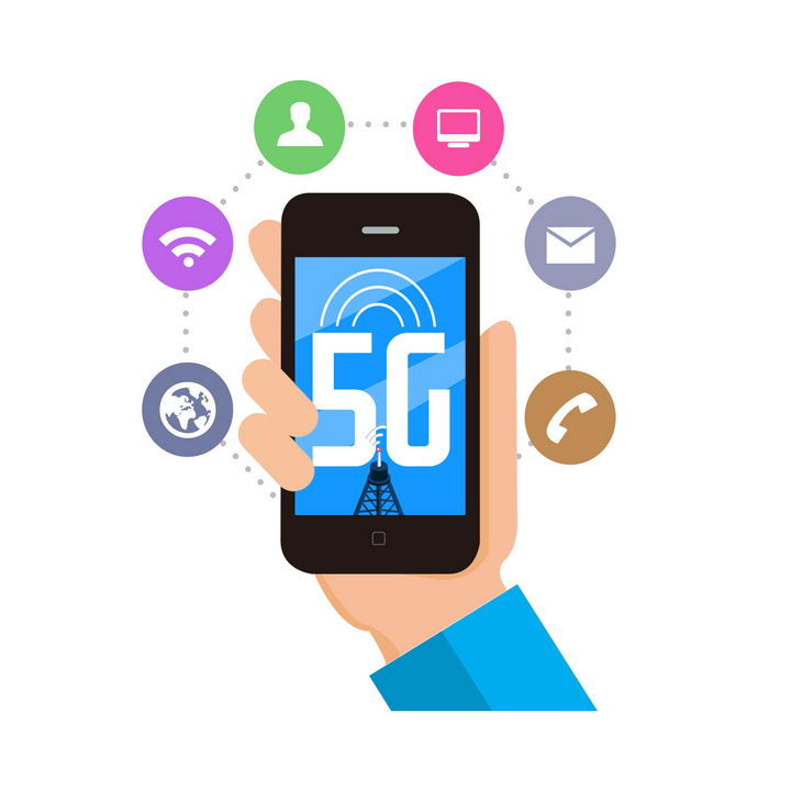 扁平化风格手机5G通信技术应用图片免抠png素材