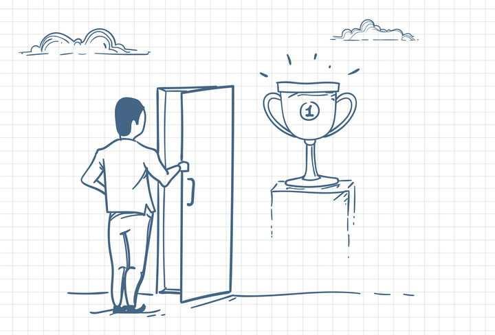 圆珠笔画涂鸦风格打开门看到第一名奖杯职场人际交往配图图片免抠矢量素材