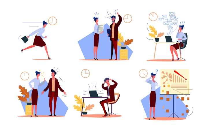 6款扁平插画风格时间效率带来烦恼的商务人士图片免抠矢量素材