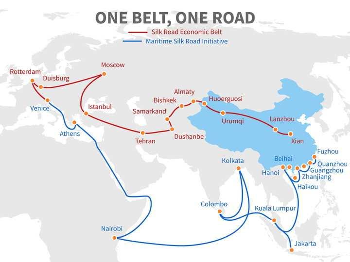 中国国家战略一带一路沿途国家城市世界地图示意图图片免抠矢量素材