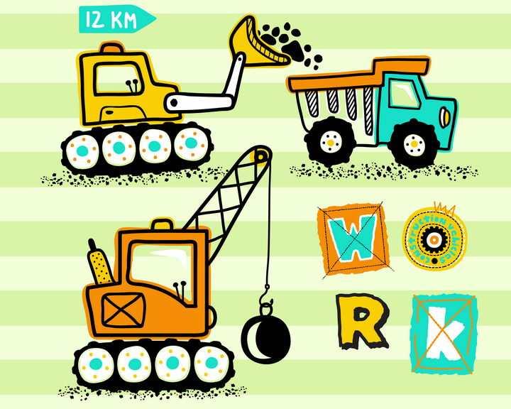 卡通涂鸦风格挖掘机挖土机起重机等工程机械儿童画图片免抠矢量素材